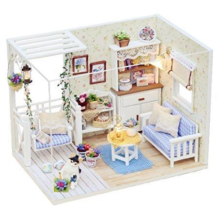 CUTEBEE Miniatura de la casa de muñecas con Muebles, Equipo de casa de muñecas de Madera DIY, más Resistente al Polvo y el Movimiento de música, (Cat Diary)