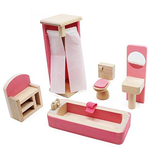 KEESIN Mini muebles de casa de madera rosa Jugar muñecas Conjunto Juguete para niños Juguete para niños Juguete educativo Casa de muñecas (Baño-5 piezas)