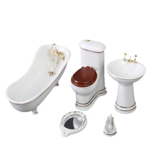 SODIAL(R) 1/12 Juego de muebles de bano para casa de munecas para ninos Banera